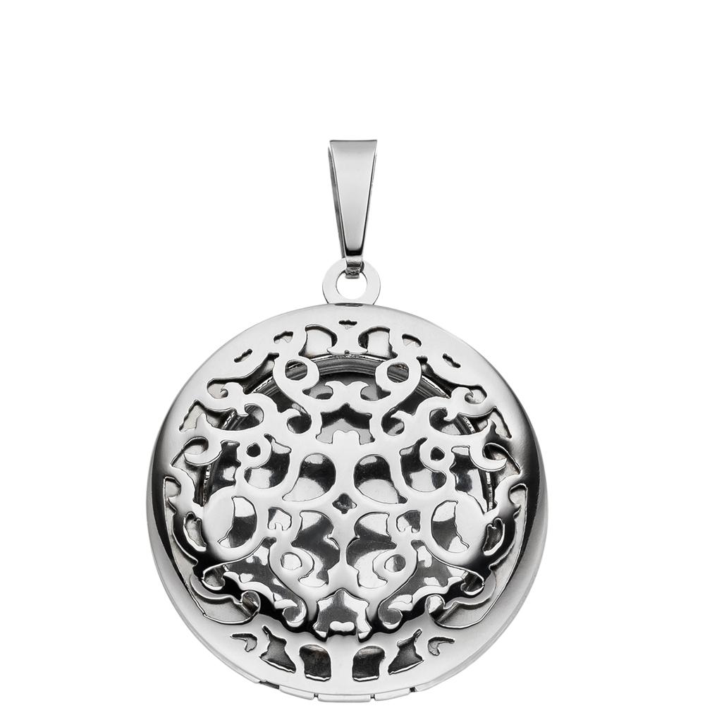 Medaillon Ornament rund hochglanz aus Edelstahl für 1 Foto / Bild  +  Etui