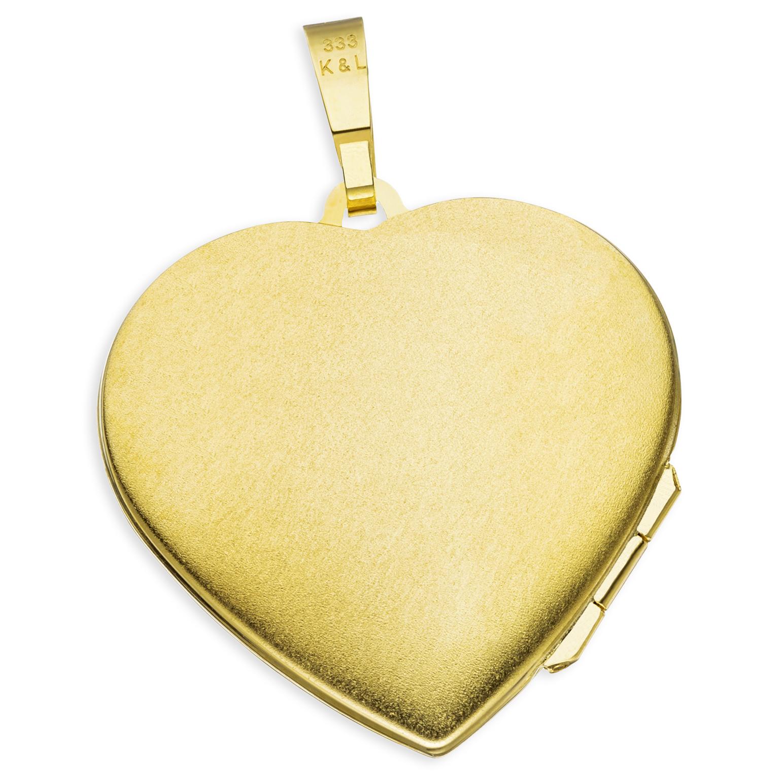 Medaillon teilmattiert 3 Zirkonia Herz 333 Gelbgold 8 Karat Gold + Kette