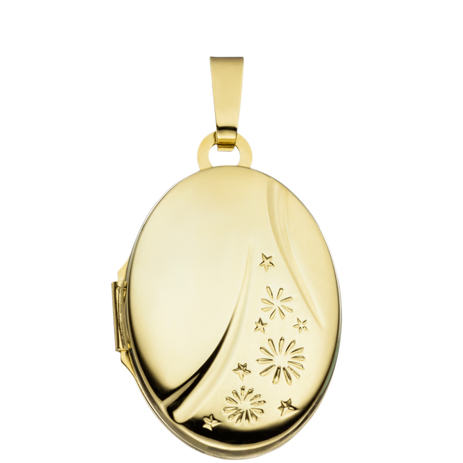 Medaillon hochglanz verziert Oval 585 Gelbgold 14 Karat Gold für 2 Fotos