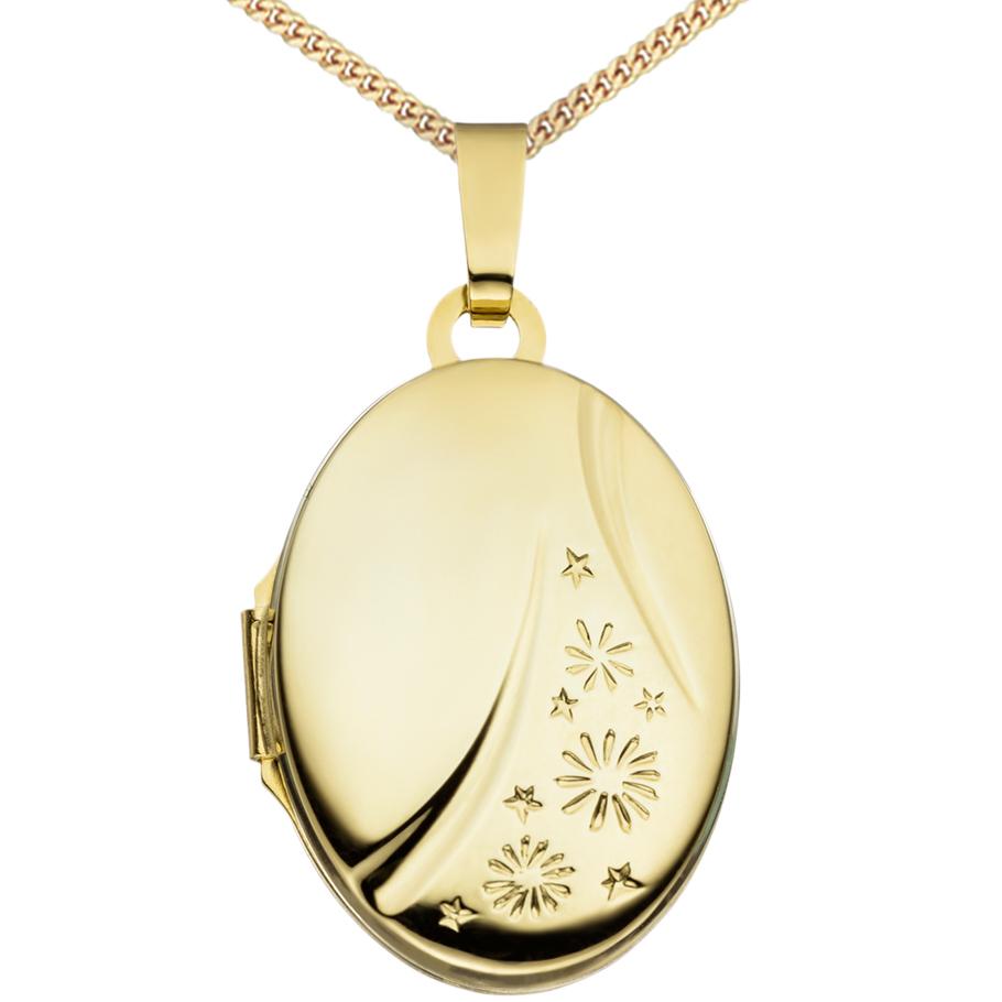 Medaillon Oval hochglanz  585 Gelbgold 14 Karat Gold für 2 Fotos + Kette