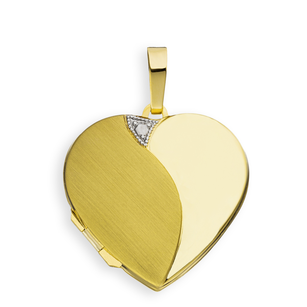 Medaillon Herz teilmattiert 585 Gelbgold 14 Karat Gold Gold für 2 Fotos + Etui