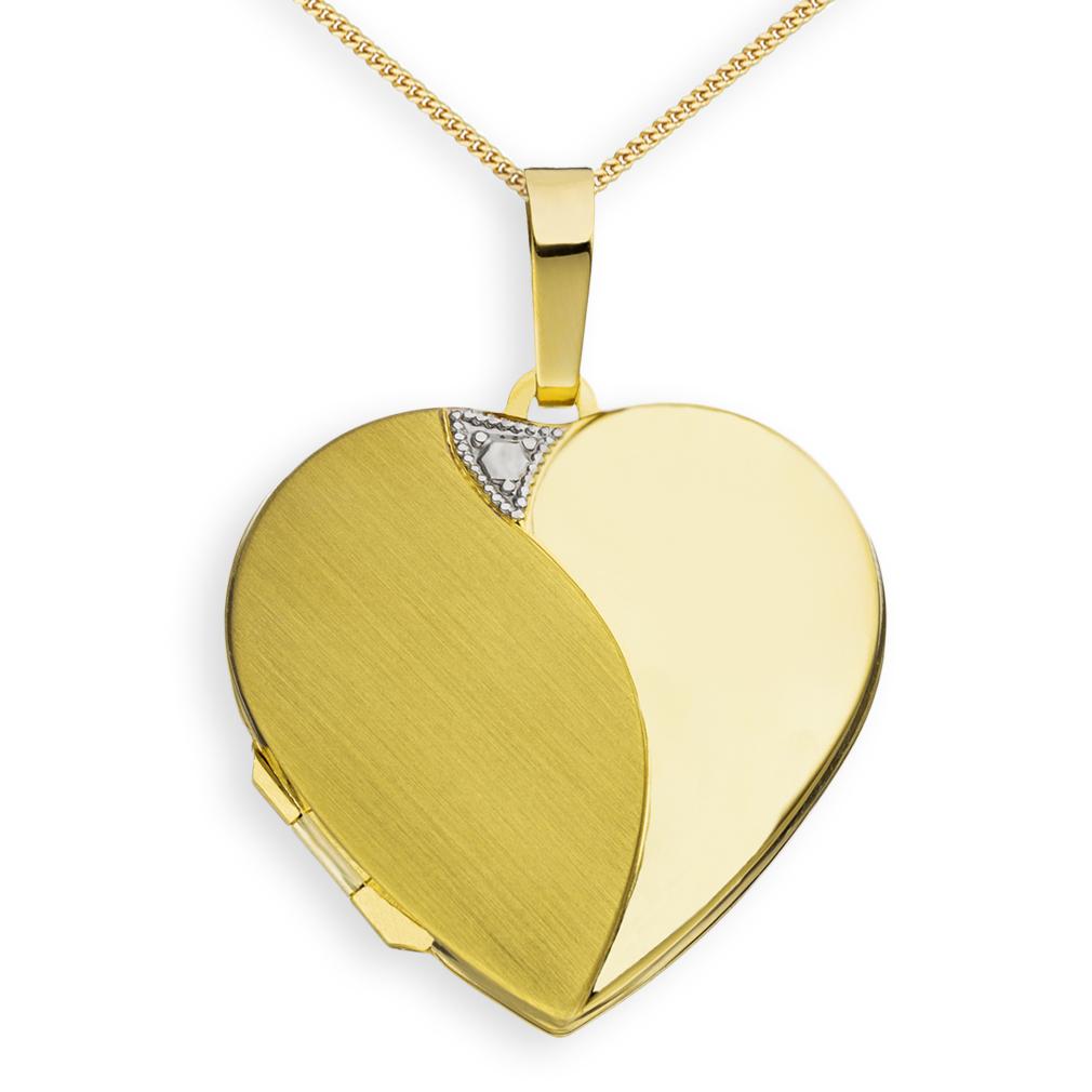 Medaillon Herz teilmattiert 585 Gelbgold 14 Karat Gold Gold f. 2 Fotos + Kette