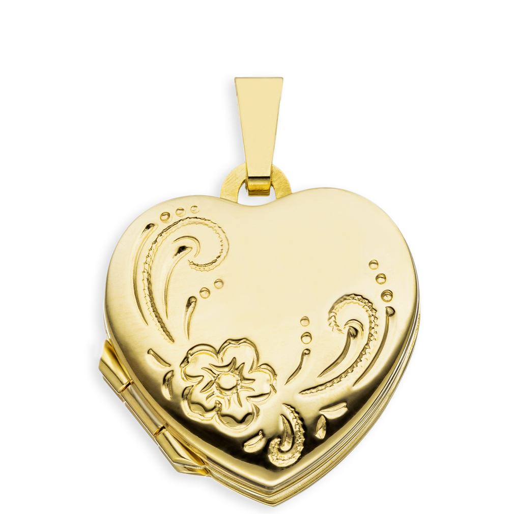 Doppel-Medaillon Herz hochglanz verziert 333 Gelb-Gold 8 Karat für 4 Fotos