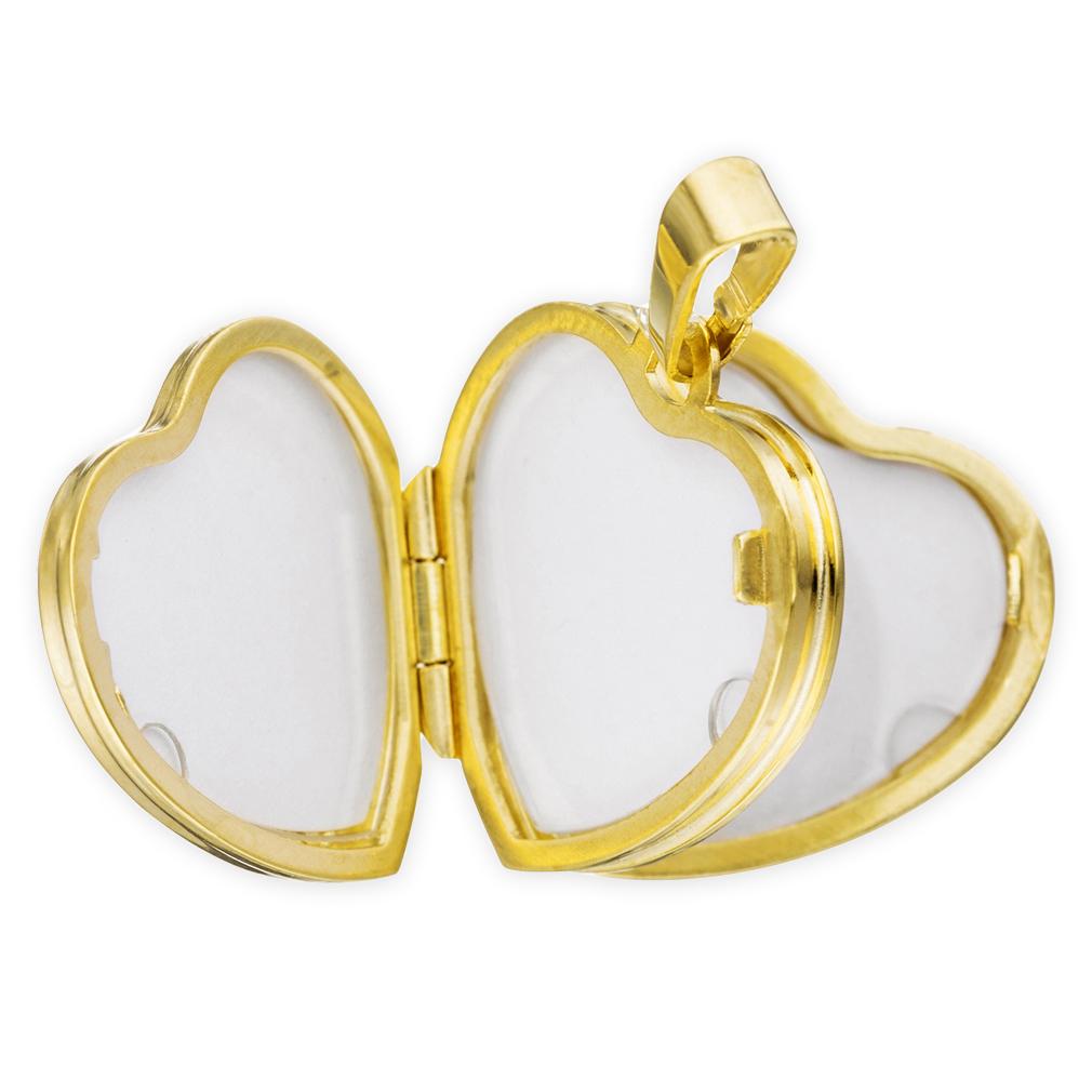 Doppel-Medaillon Herz hochglanz 333 Gelb-Gold 8 Karat für 4 Fotos + Kette