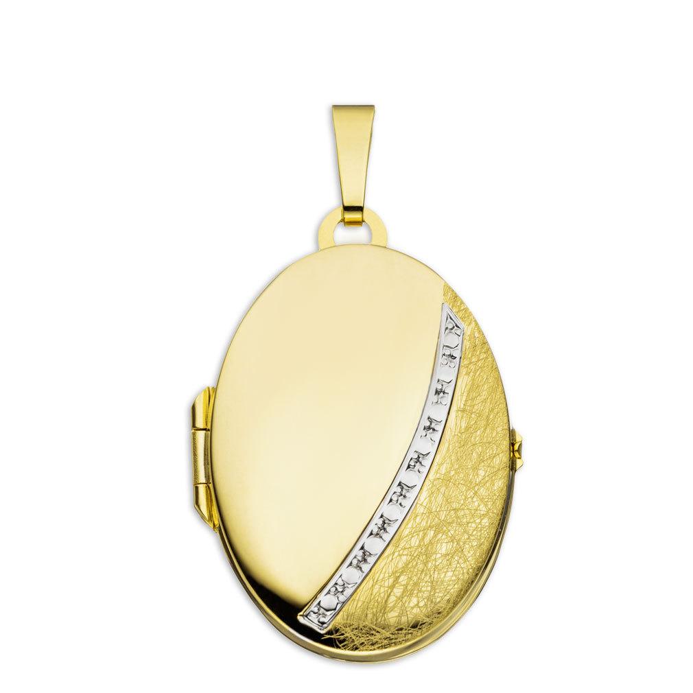 Medaillon eismattiert oval 333 Gelbgold 8 Karat für 2 Fotos mit Schmuck-Etui