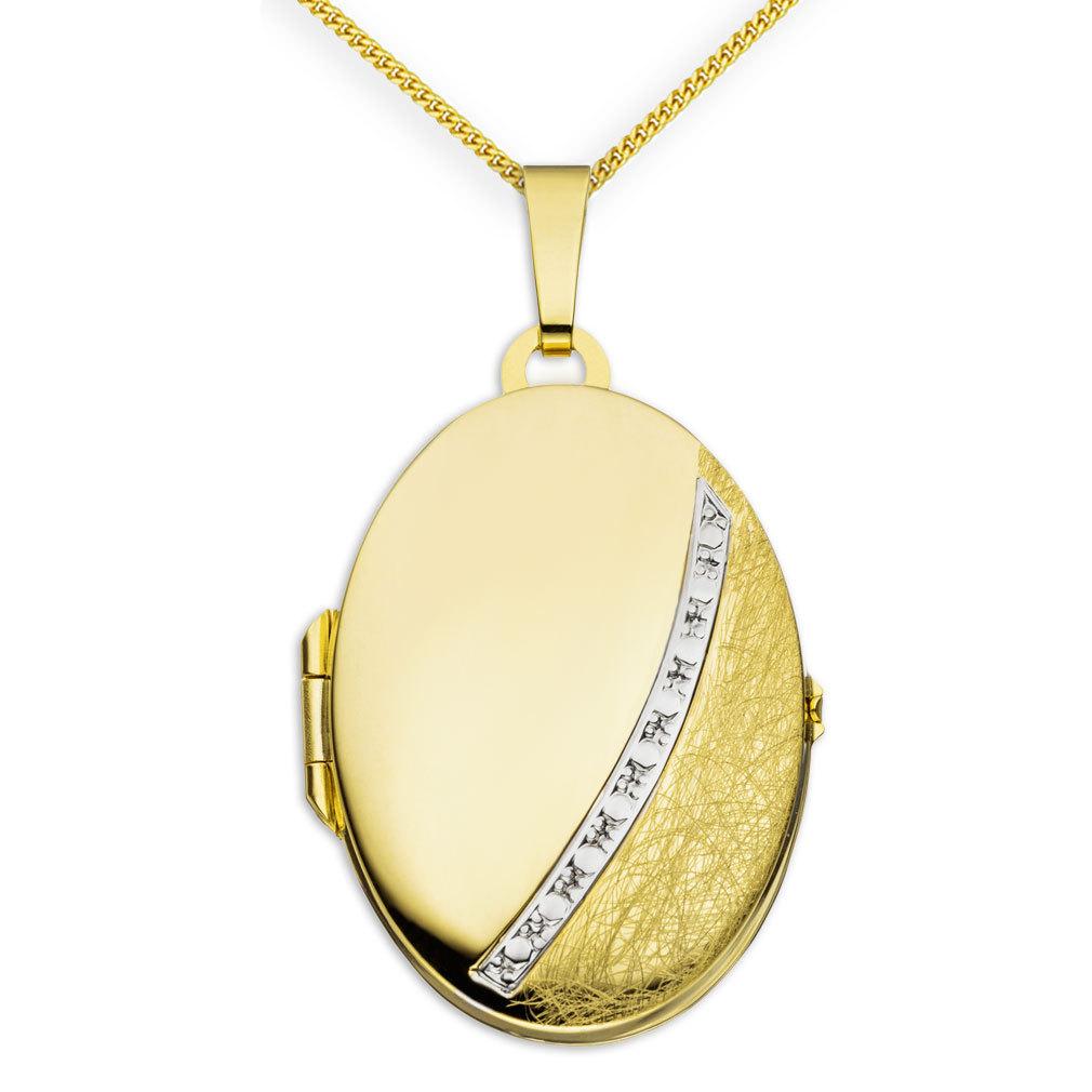 Medaillon eismattiert oval 333 Gelbgold 8 Karat Gold für 2 Fotos + Kette