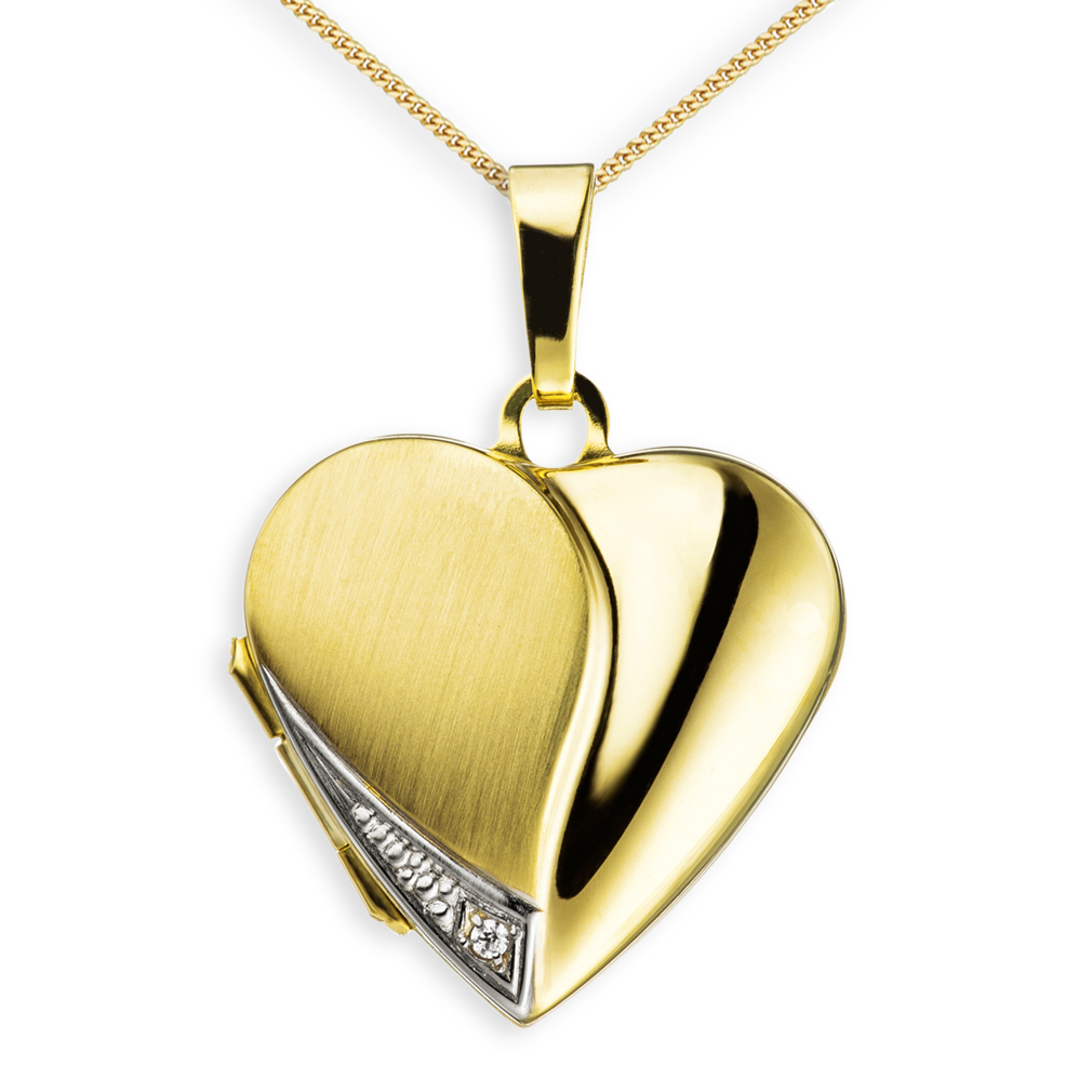 Medaillon teilmattiert Zirkonia Herz 333 Gelbgold 8 Karat Gold + Kette