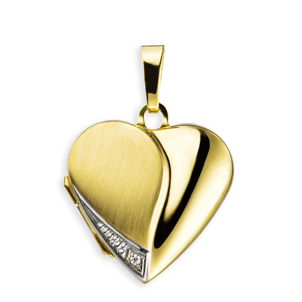 Medaillon teilmattiert Zirkonia Herz 333 Gelbgold 8 Karat Gold für 2 Fotos