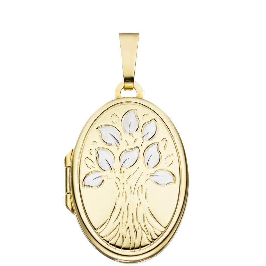 Medaillon bicolor oval 333 Gelbgold 8 Karat Gold für 2 Fotos + Schmuck-Etui