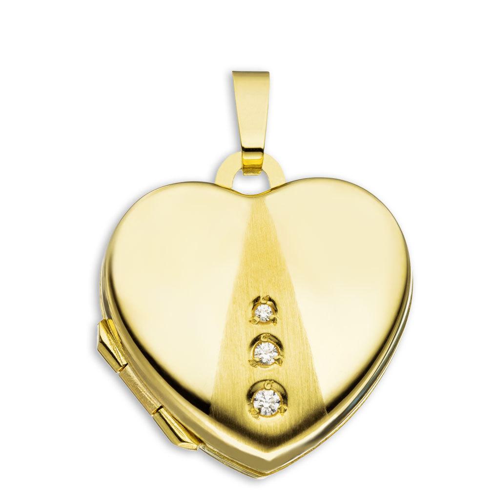 Medaillon teilmattiert 3 Zirkonia Herz 333 Gelbgold 8 Karat Gold für 2 Fotos