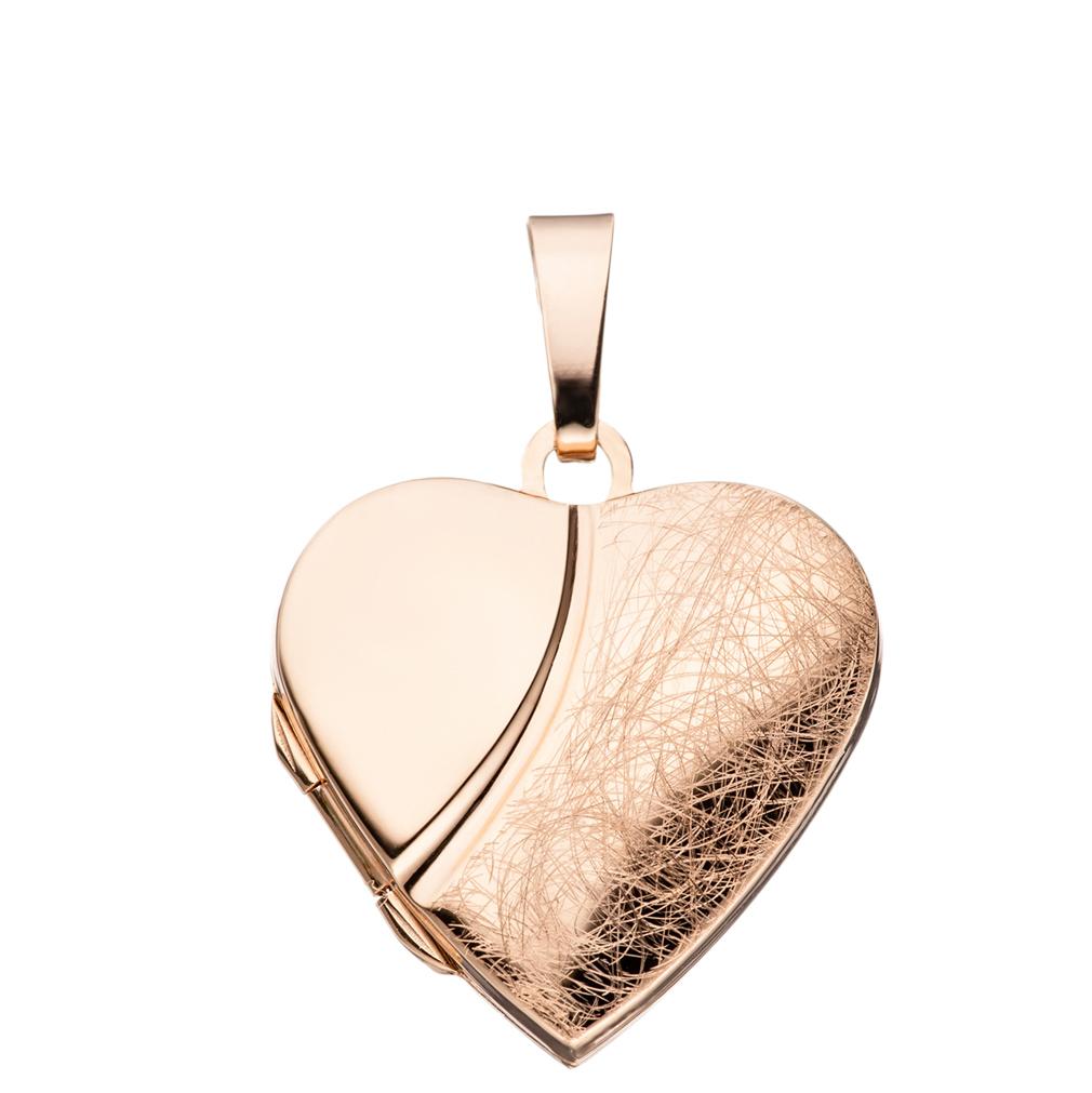 Medaillon Herz eis-mattiert verziert 925 Sterling Silber rotvergoldet für 2 Fotos