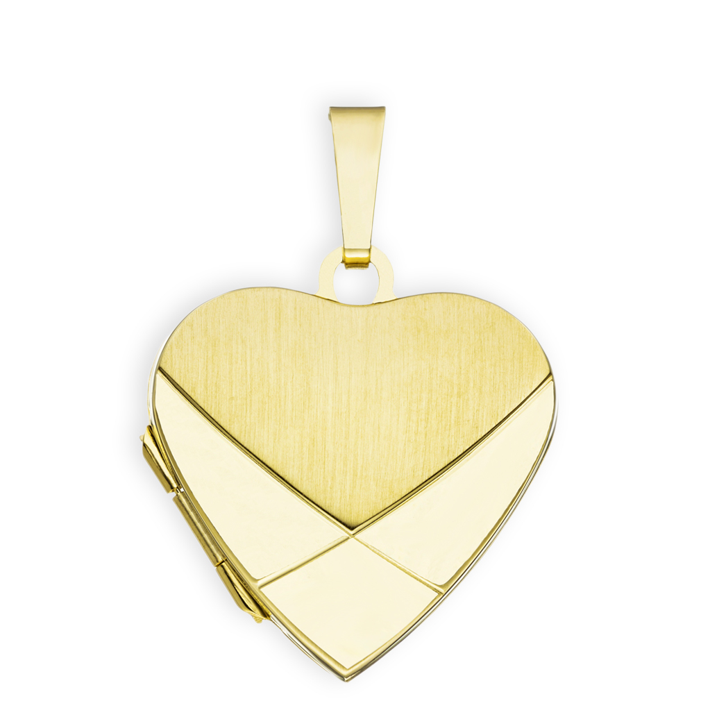 Medaillon teilmattiert verziert Herz 585 Gelbgold 14 Karat Gold für 2 Fotos