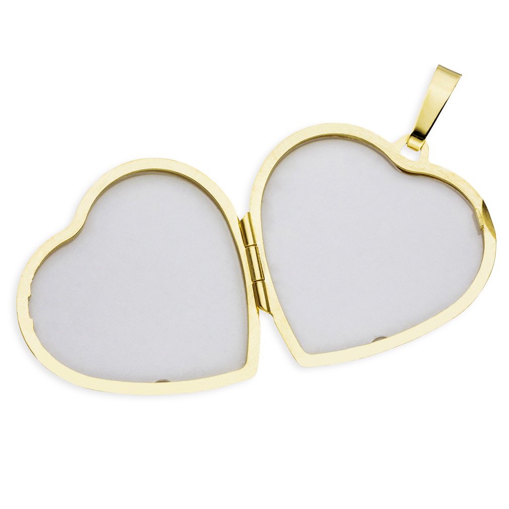 Herz Medaillon hochglanz vergoldet verziert 925 Sterling Silber für 2 Fotos
