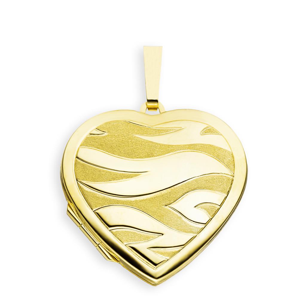 Medaillon Herz teilmattiert verziert 585 Gelbgold 14 Karat Gold für 2 Fotos