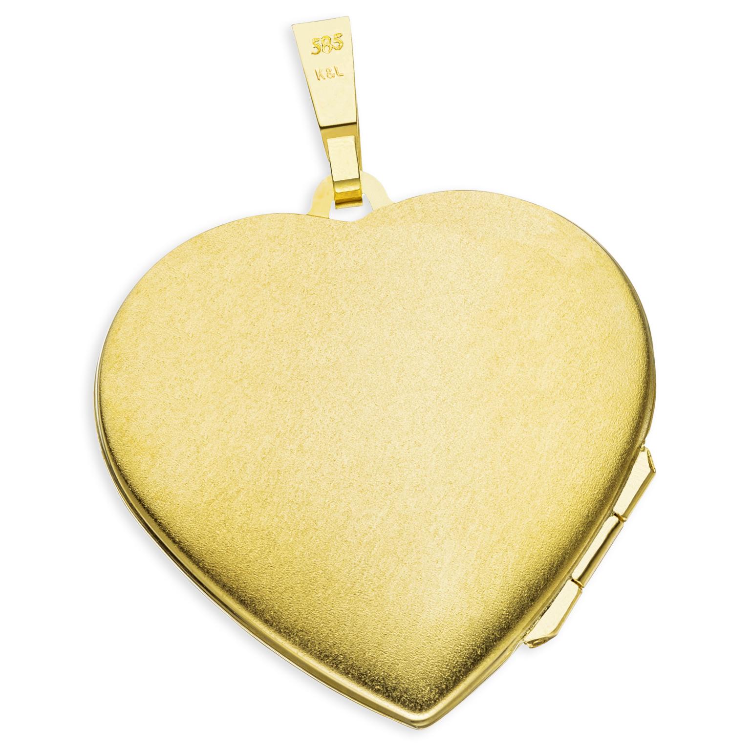 Medaillon Herz teilmattiert  585 Gelbgold 14 Karat Gold für 2 Fotos + Kette