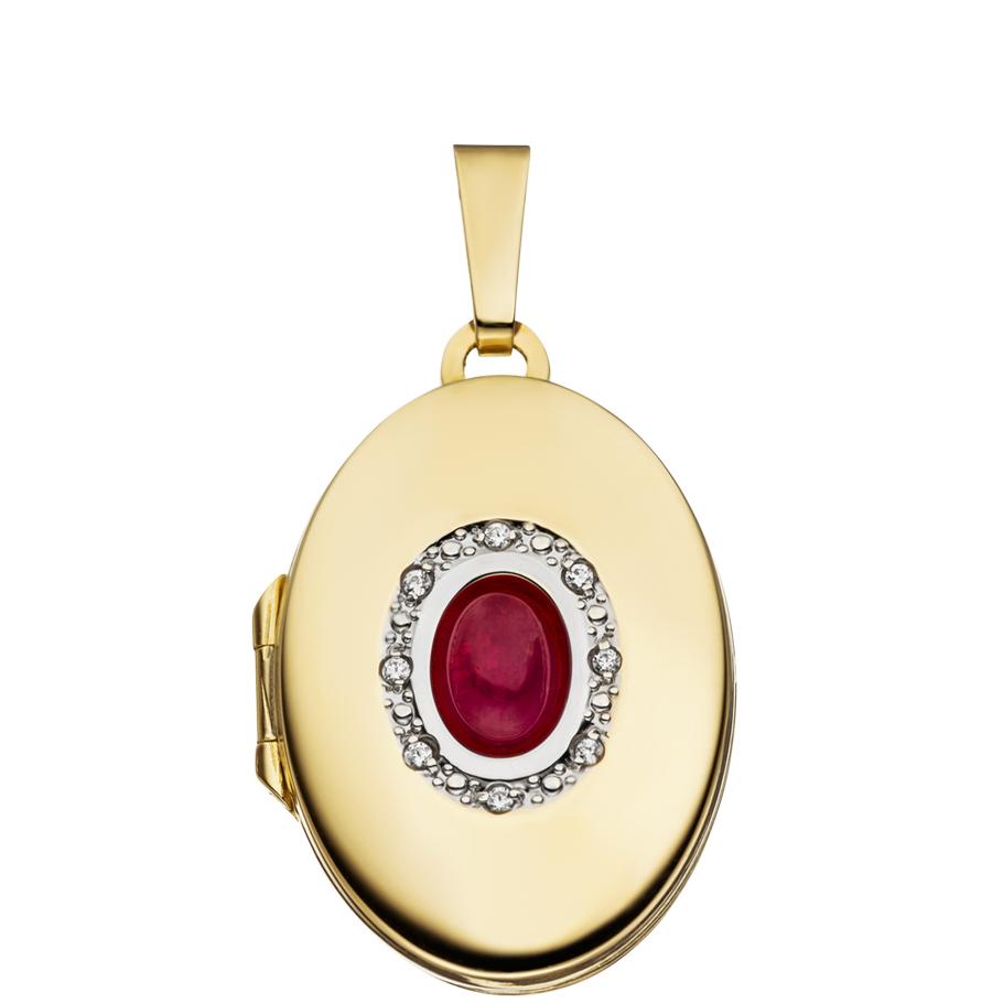 Medaillon hochglanz Rubin oval 333 Gelbgold 8 Karat Gold für 2 Fotos + Etui