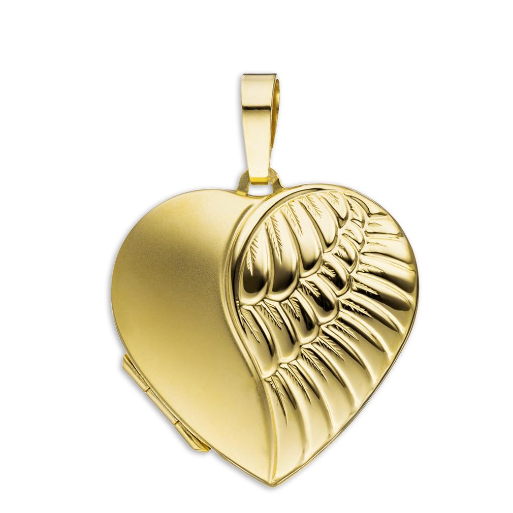 Medaillon Herz teilmattiert Flügel 333 Gelbgold 8 Karat Gold für 2 Fotos