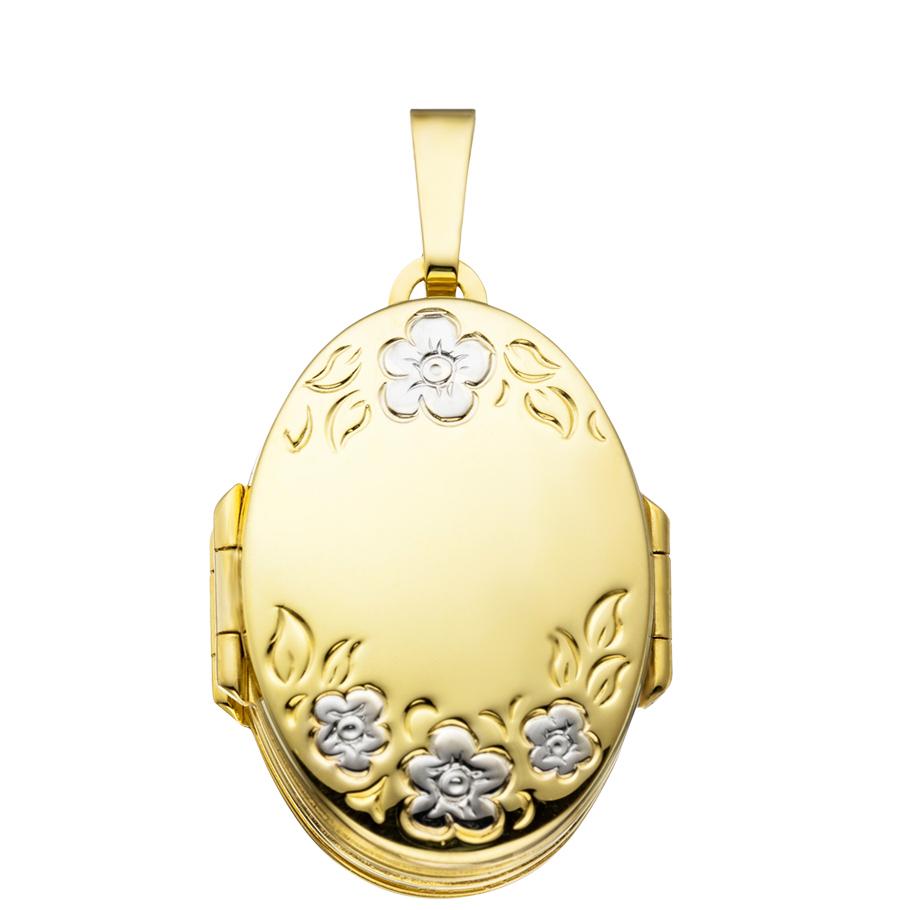 6er Mehrfach-Medaillon hochglanz oval 333 Gelbgold 8 Karat Gold für 6 Fotos