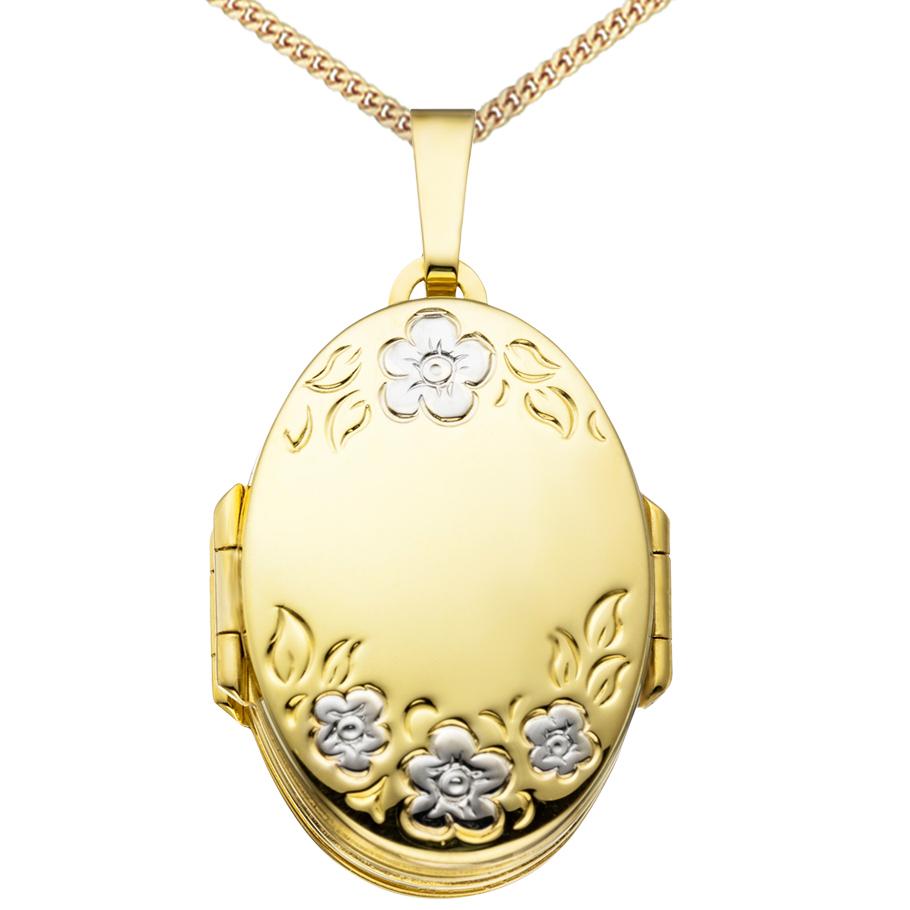 6er Mehrfach-Medaillon hochglanz oval 333 Gold 8 Karat für 6 Fotos + Kette