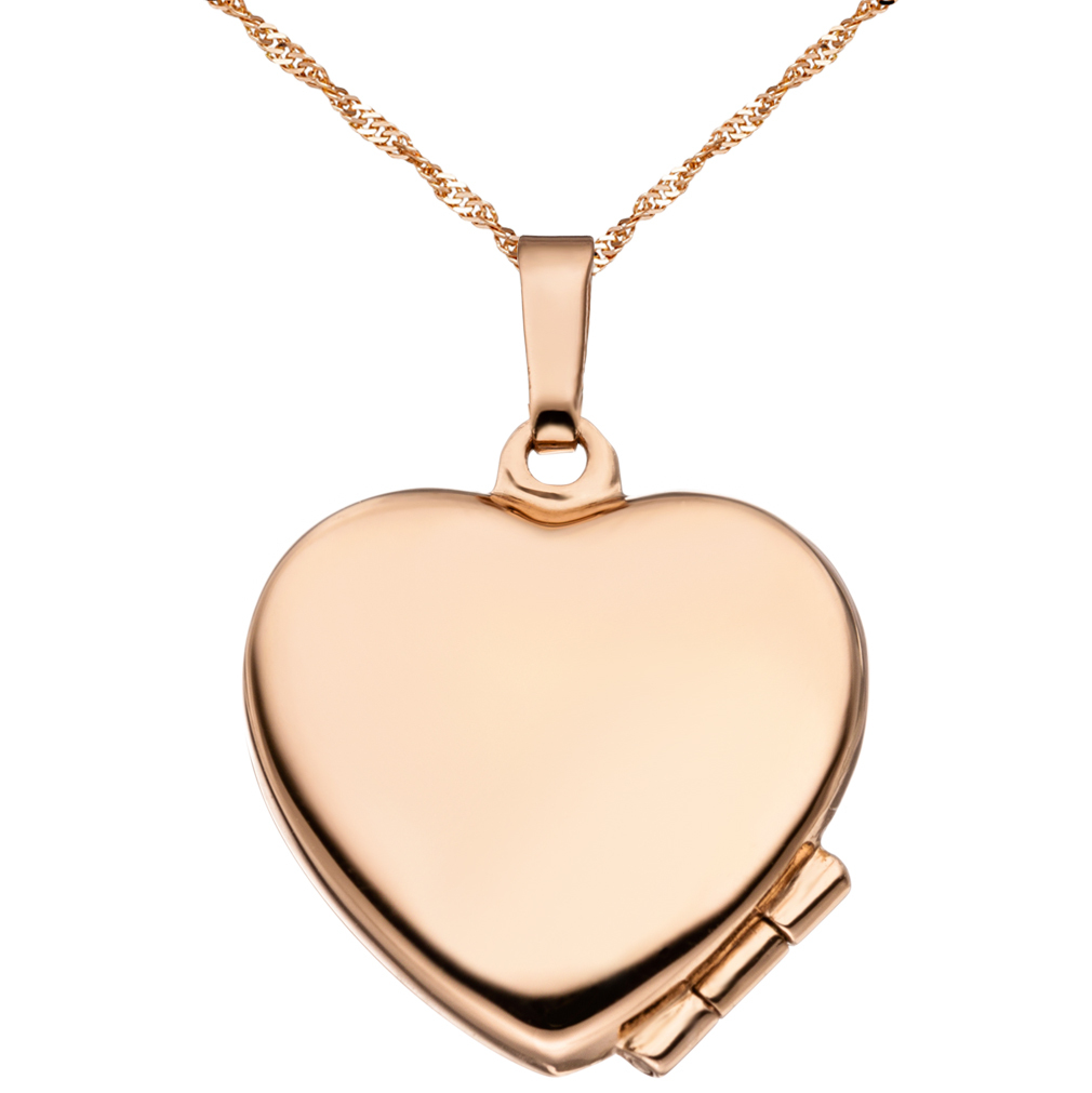 Medaillon hochglanz Herz 925 Sterling Silber rotvergoldet + Kette mit Etui