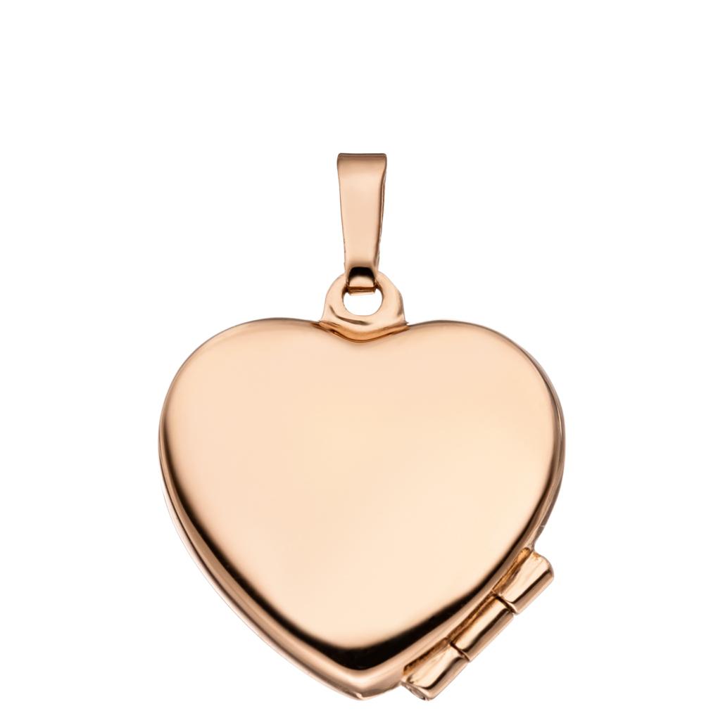 Medaillon hochglanz Herz 925 Sterling Silber rotvergoldet für 2 Fotos + Etui