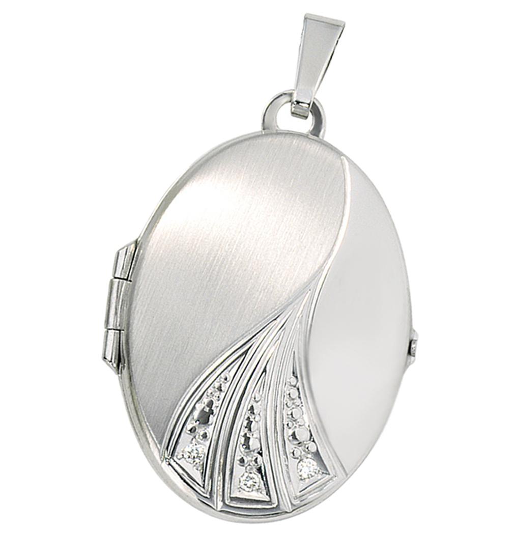 Medaillon oval 3 Diamant-Brillianten 585 Weißgold Gold für 2 Fotos mit Etui