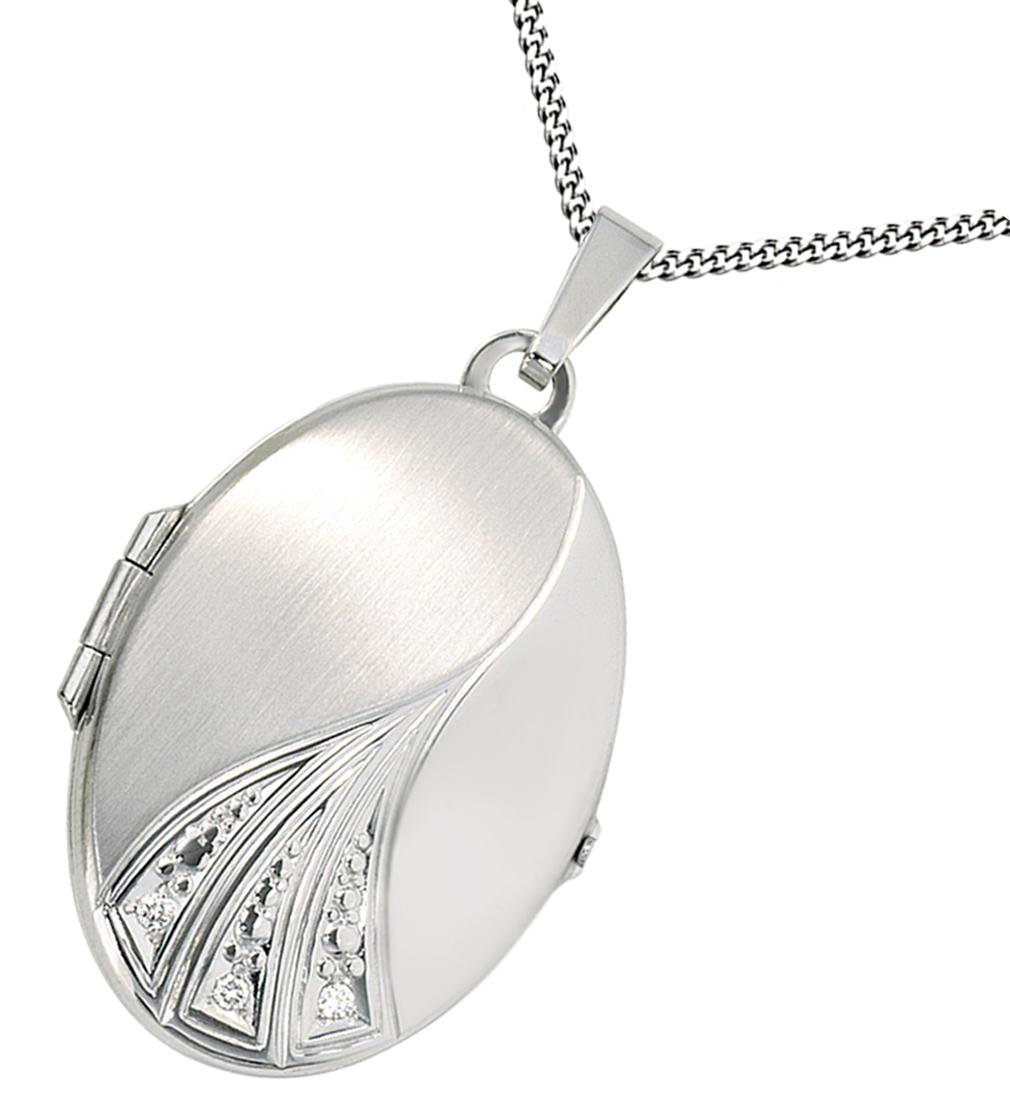Medaillon oval 3 Diamant-Brillianten 585 Weißgold Gold für 2 Fotos + Kette