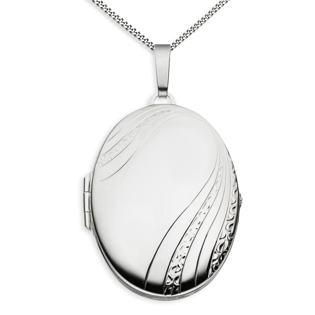 Medaillon XXL teilmattiert verziert oval 925 Sterling Silber für 2 Fotos + Kette