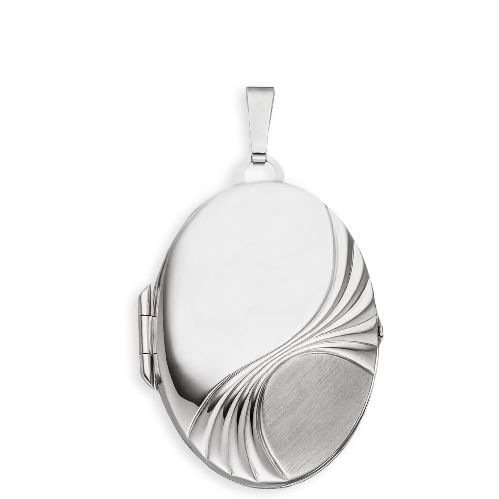 Medaillon XXL teilmattiert mattiert matt verziert oval 925 Sterling Silber