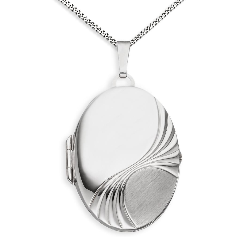 Medaillon XXL teil-mattiert verziert oval 925 Sterling Silber für 2 Fotos + Kette