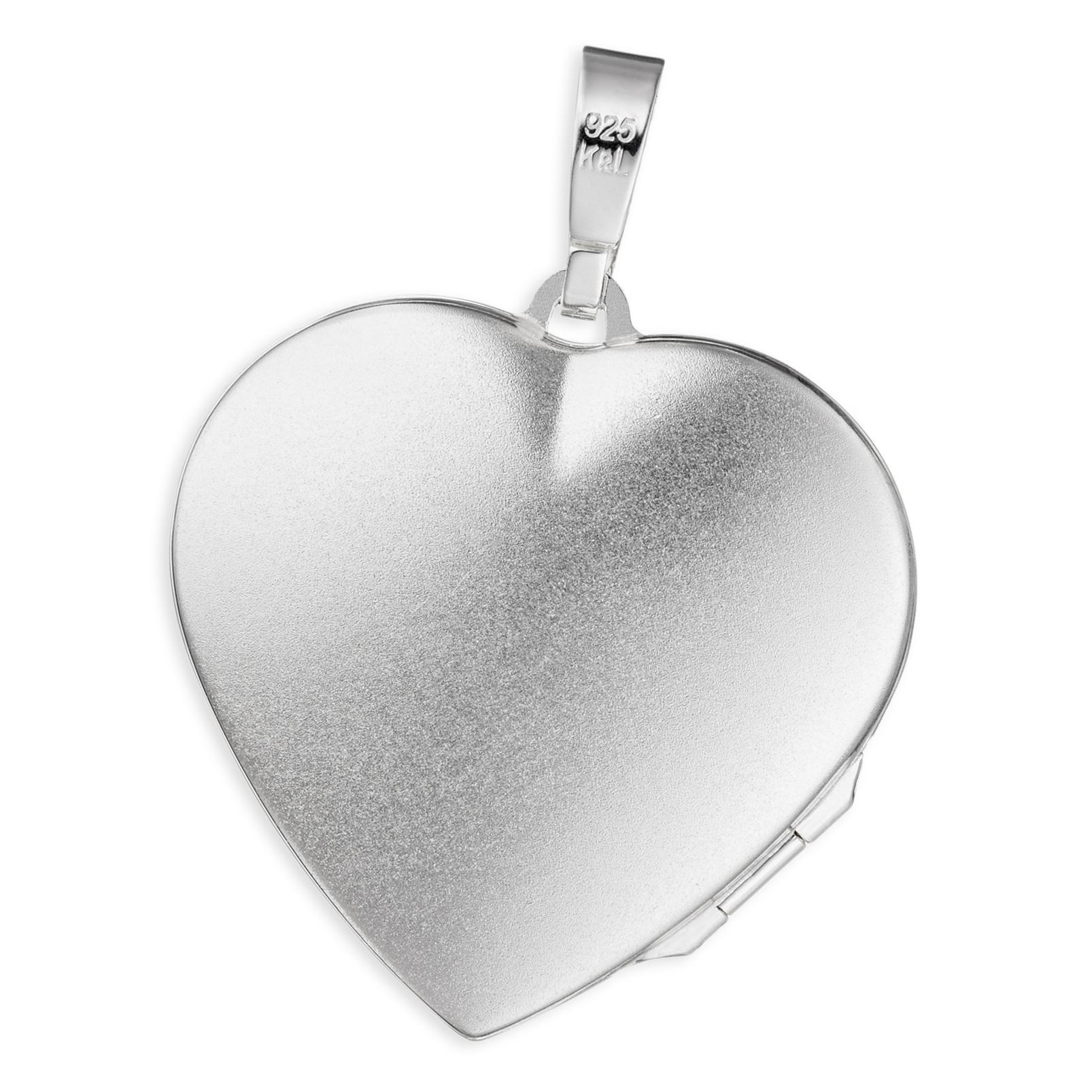 Medaillon Herz hochglanz verziert 925 Perlmutt Silber für 2 Fotos mit Etui