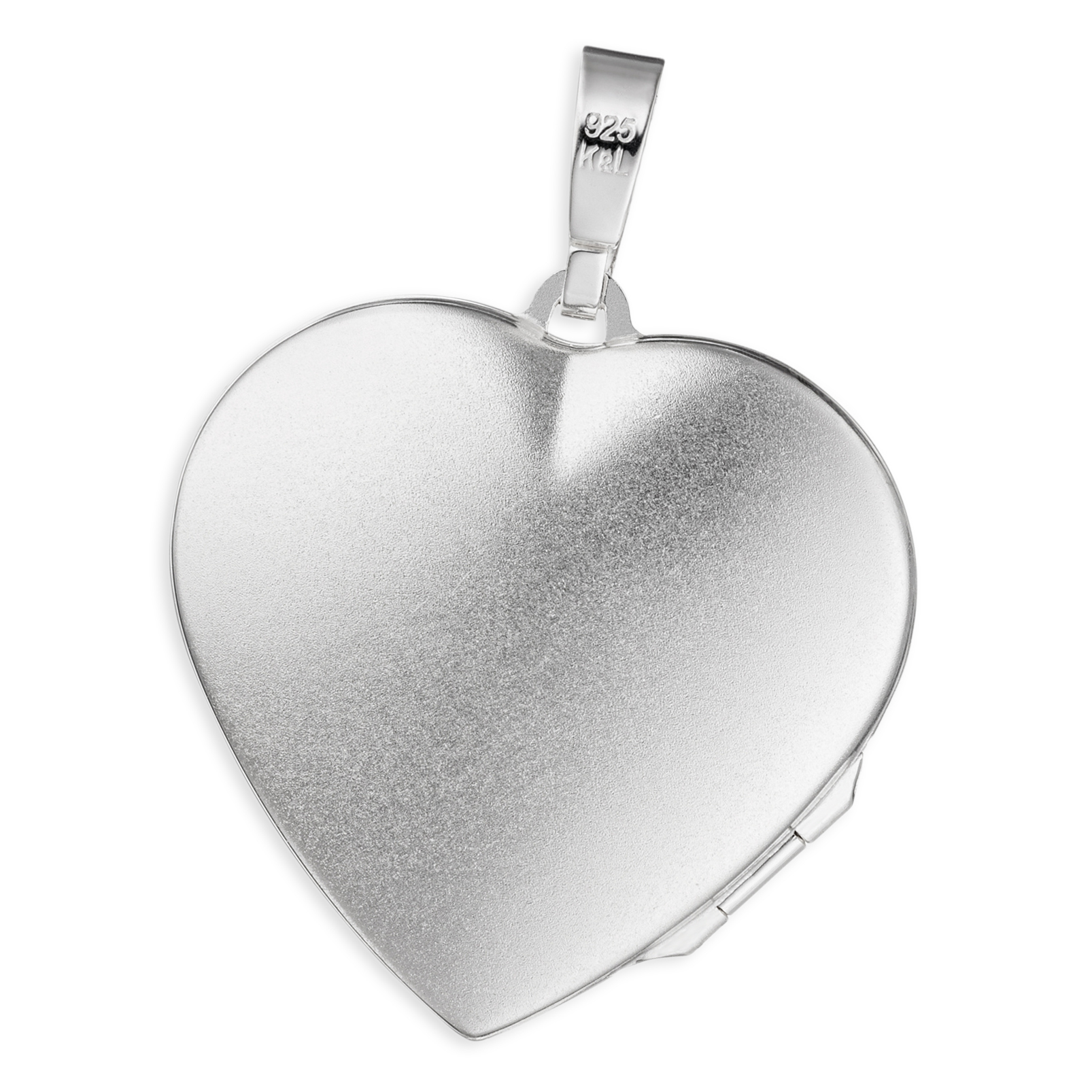 Medaillon Herz hochglanz verziert 925 Perlmutt Silber für 2 Fotos + Kette, Etui