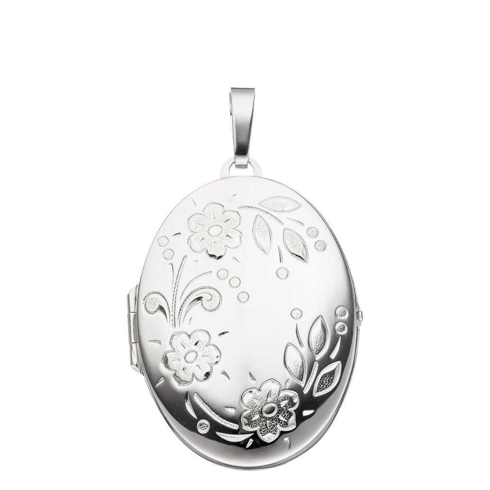 Medaillon XXL hochglanz Blumenmuster verziert oval 925 Silber für 2 Fotos,Etui