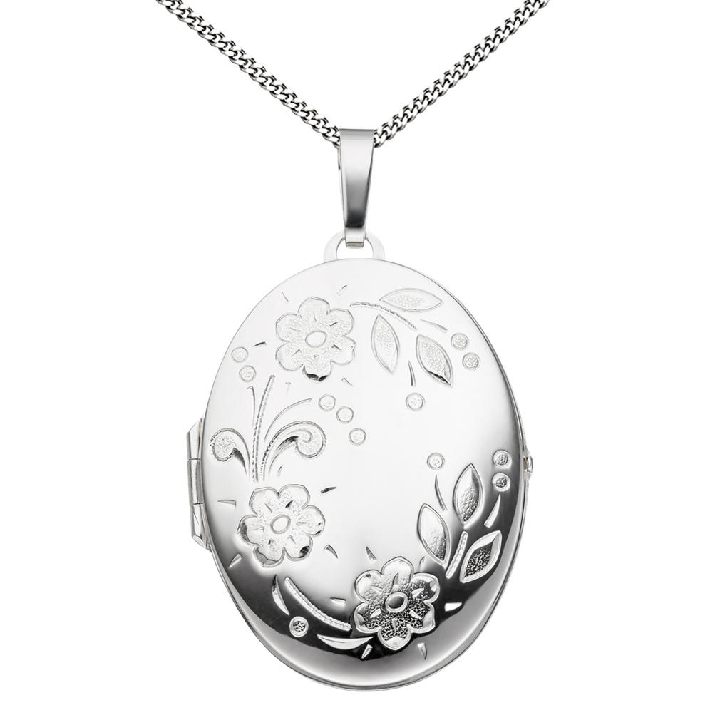 Medaillon XXL hochglanz + Kette und Etui oval 925 Silber für 2 Fotos