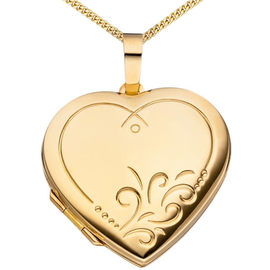 Herz Medaillon hochglanz vergoldet 925 Sterling Silber für 2 Fotos + Kette