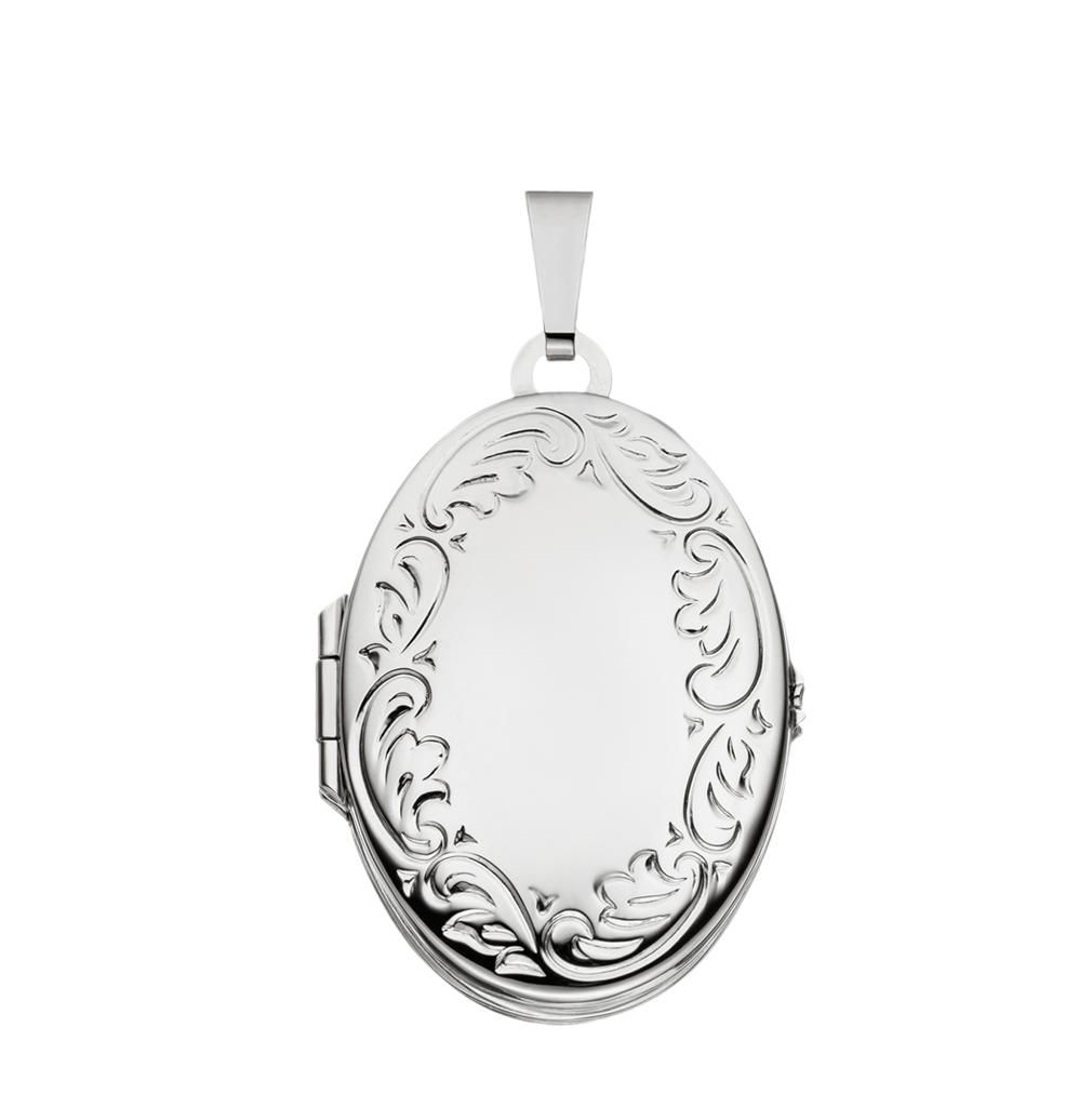 Medaillon Doppelmedaillon hochglanz verziert oval 925 Silber für 4 Fotos mit Etui