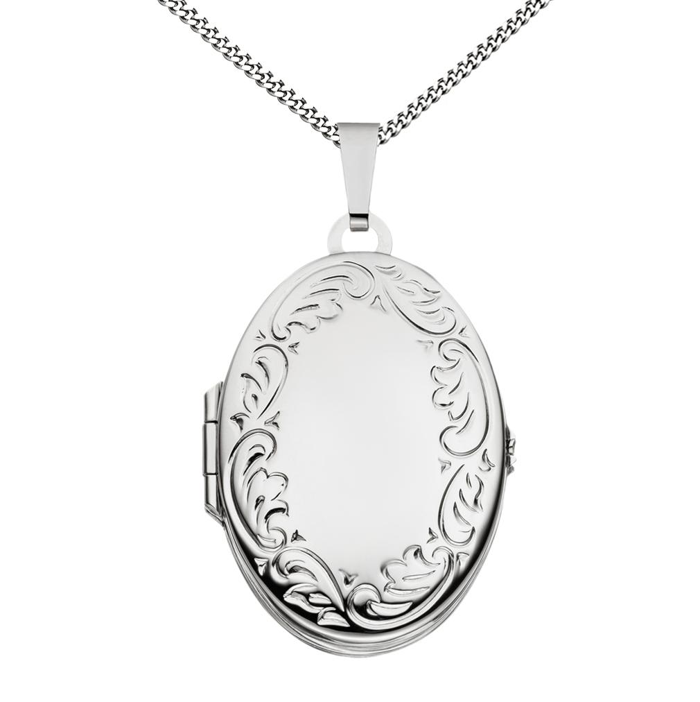 Medaillon Doppelmedaillon teilmattiert verziert oval 925 Silber für 4 Fotos + Kette, Etui