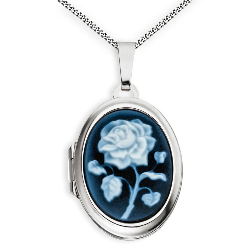 Medaillon hochglanz Achatgemme oval 925 Sterling Silber für 2 Fotos + Kette