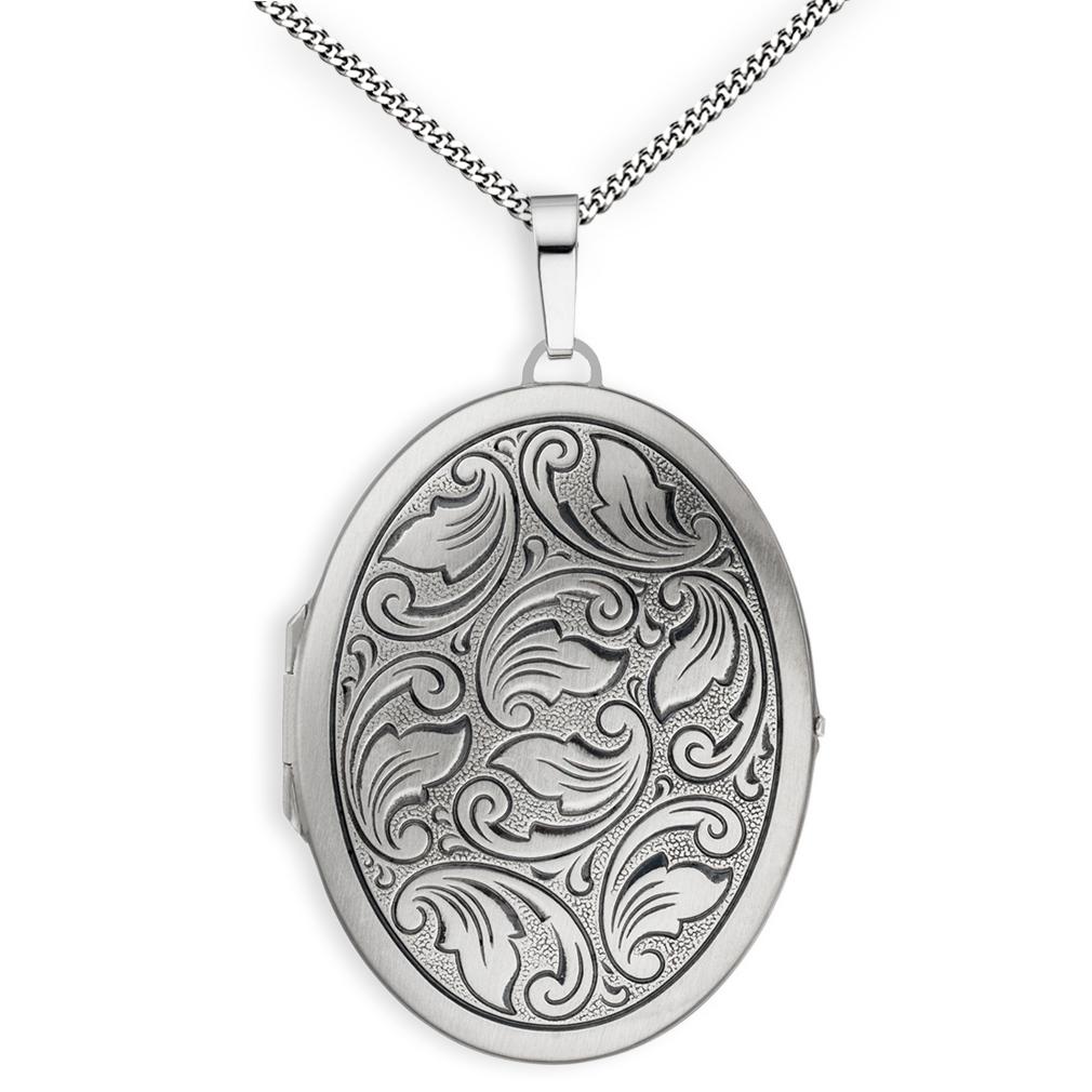 Medaillon XXL mattiert Ornament verziert oval 925  Silber für 2 Fotos + Kette