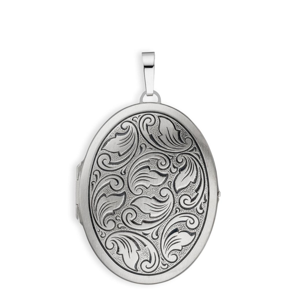 Medaillon XXL mattiert verziert oval 925 Sterling Silber für 2 Fotos mit Etui