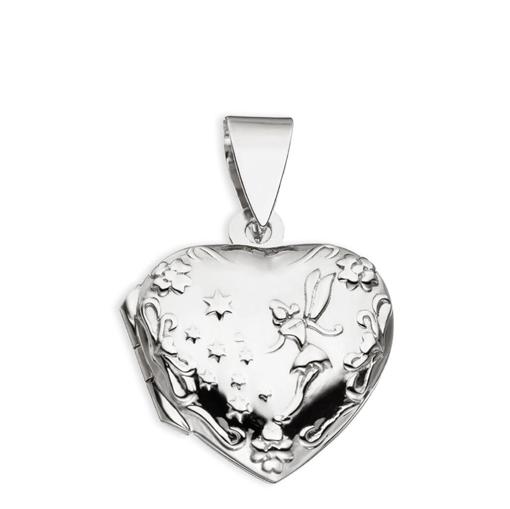 Medaillon Herz Fee Elfe verziert Herzform 925 Sterling Silber für 2 Fotos