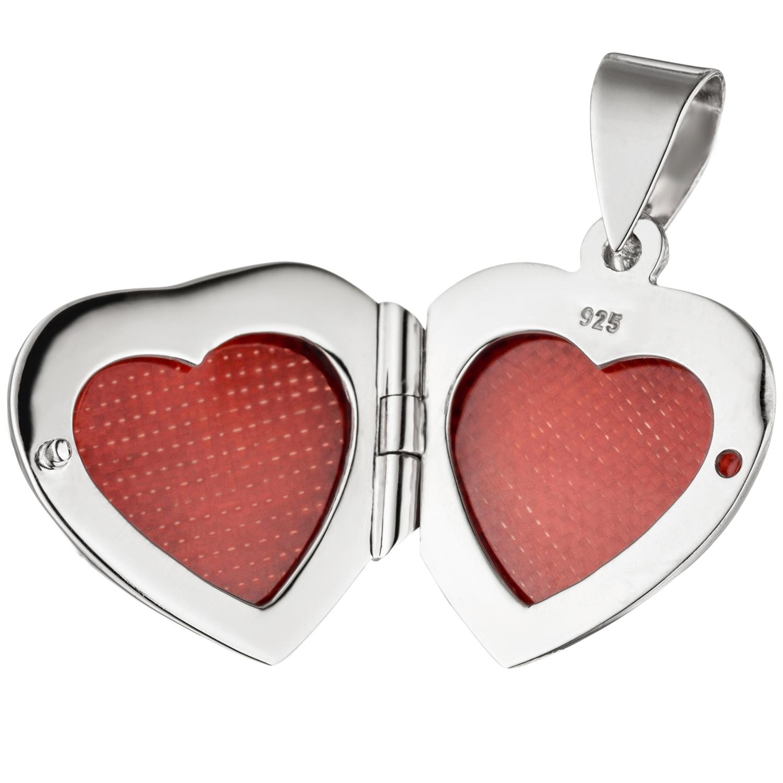 Medaillon Herz Fee Elfe Herzform 925 Sterling Silber für 2 Fotos + Kette
