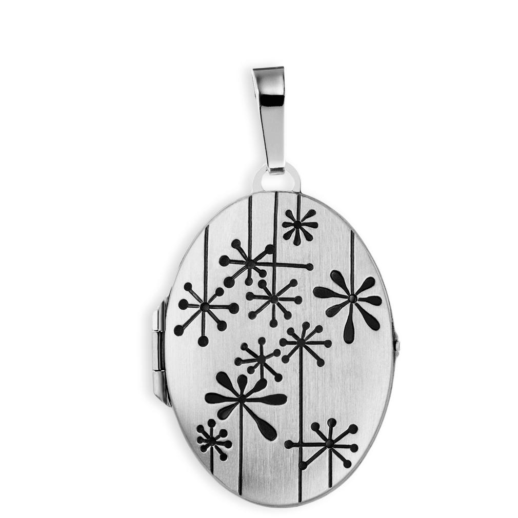 Medaillon mattiert verziert oval 925 Sterling Silber für 2 Fotos mit Etui