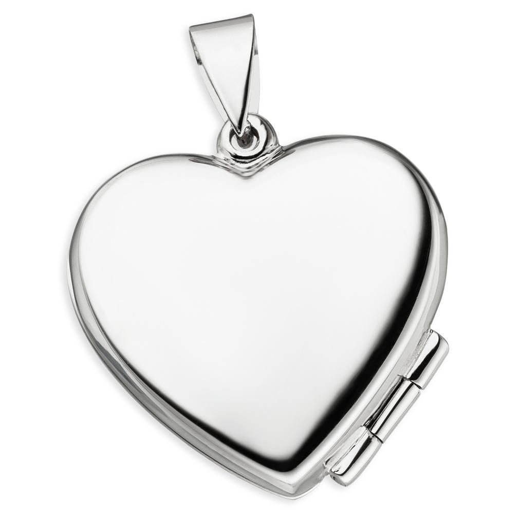 Medaillon Herz hochglanz Käfer 925 Perlmutt Silber für 2 Fotos + Kette + Etui