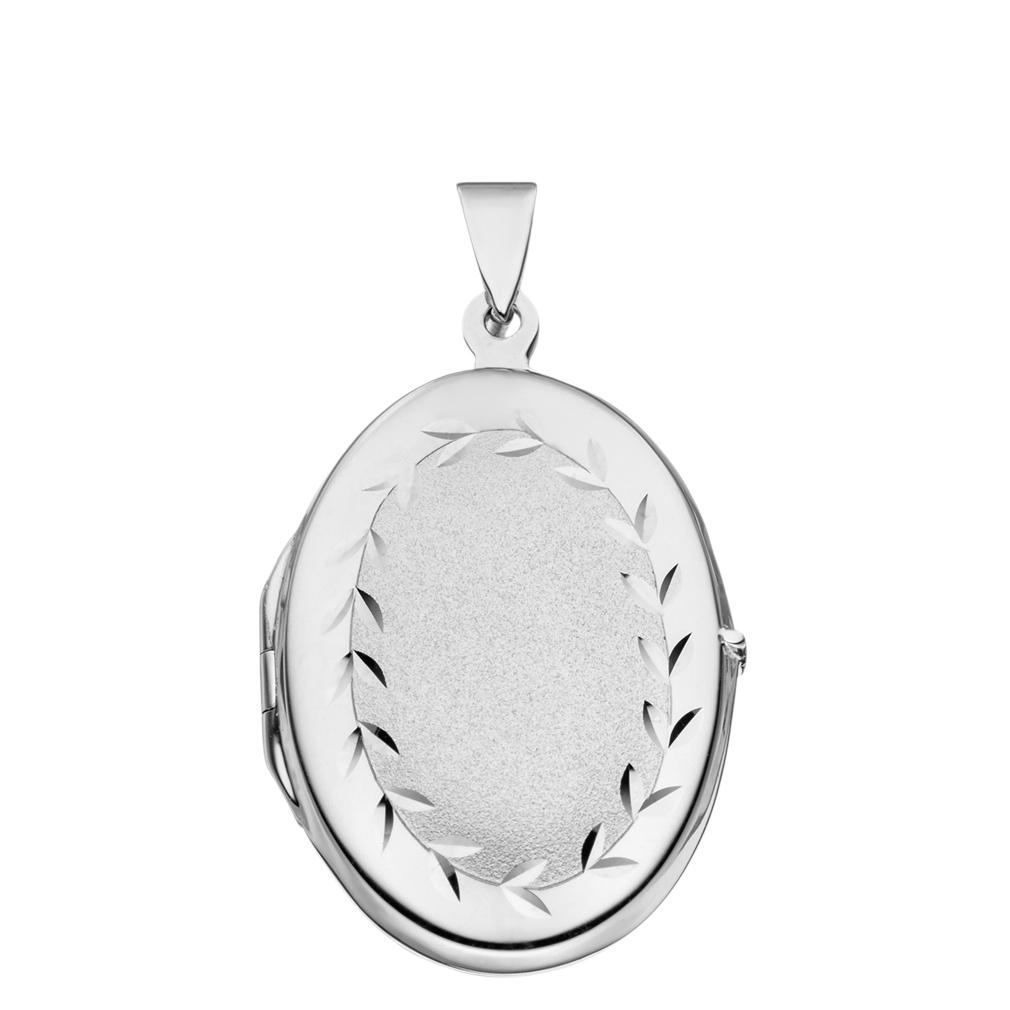 Medaillon teilmattiert verziert oval 925 Sterling Silber für 2 Fotos mit Etui