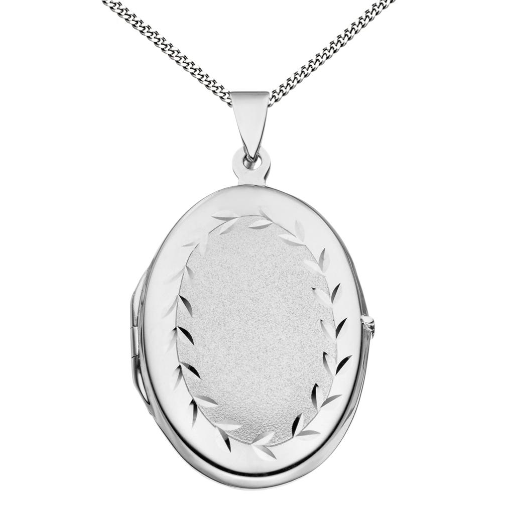 Medaillon teilmattiert verziert oval 925 Sterling Silber für 2 Fotos + Kette