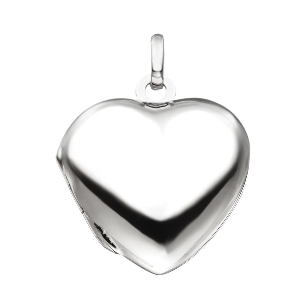 Medaillon Herz hochglanz 3 Zirkonia verziert 925 Silber für 2 Fotos mit Etui