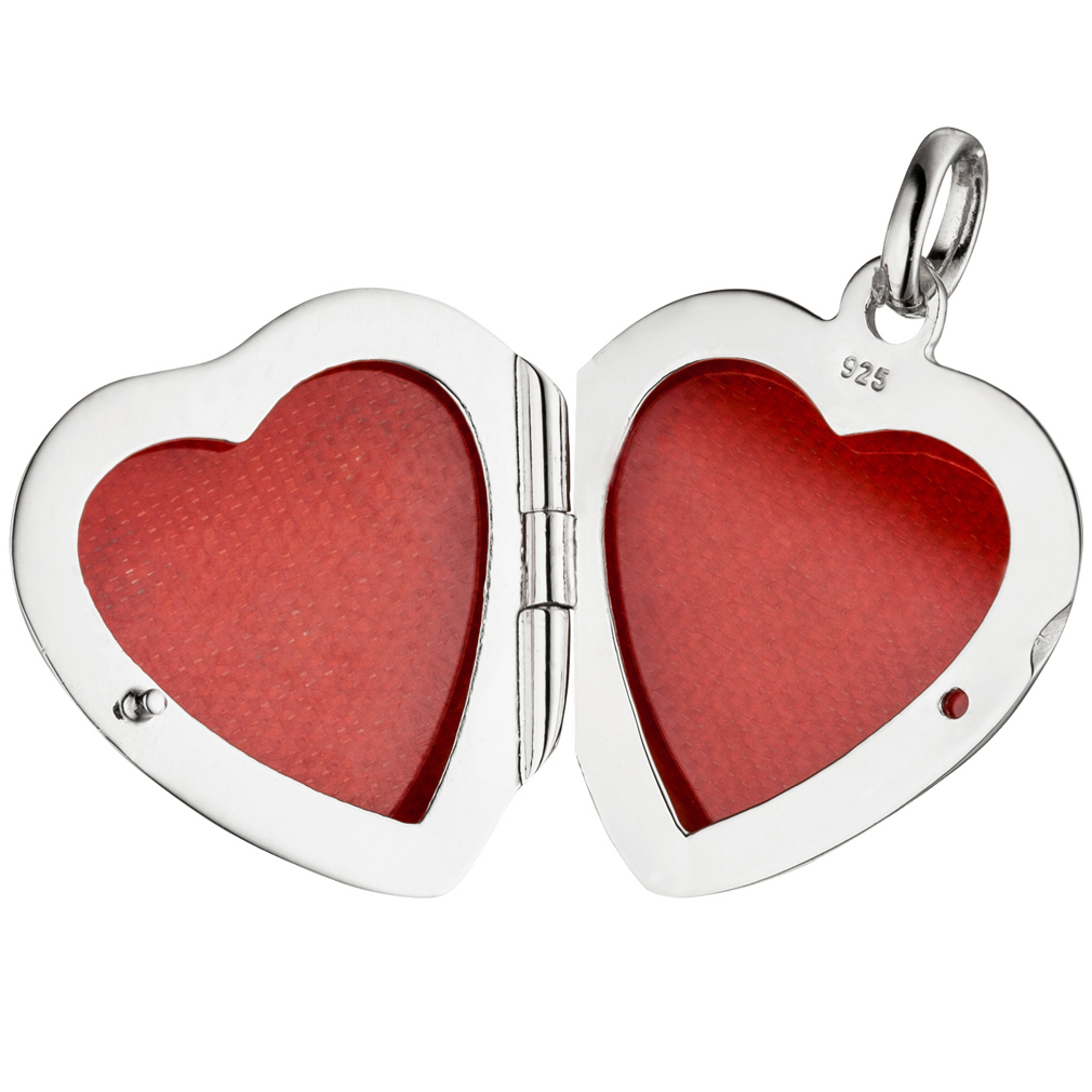 Medaillon Herz hochglanz 3 Zirkonia verziert 925 Silber für 2 Fotos + Kette