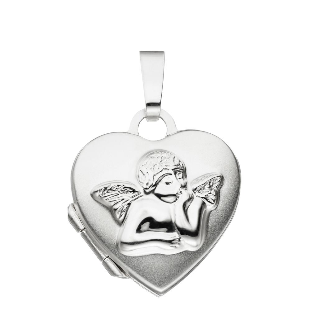 Medaillon Herz Engel teilmattiert verziert 925 Sterling Silber für 2 Fotos