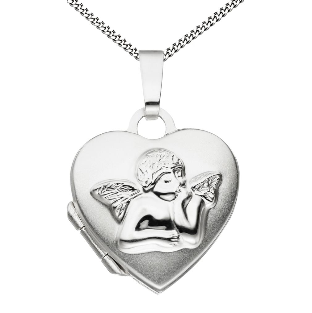 Medaillon Herz Engel 925 Sterling Silber für 2 Fotos + Kette mit Etui